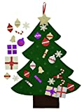 Felt Christmas Tree. Glitter Edition. 3Ft, wall or door hanging, 30 detachable Glitter Christmas ornaments.