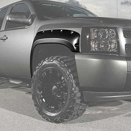 8' Fenders (07-13 Chevy Silverado Pickup Truck 6.5' 8' Truck Bed Size 4pcs Bolt On Style Black Fender Flare Kit)