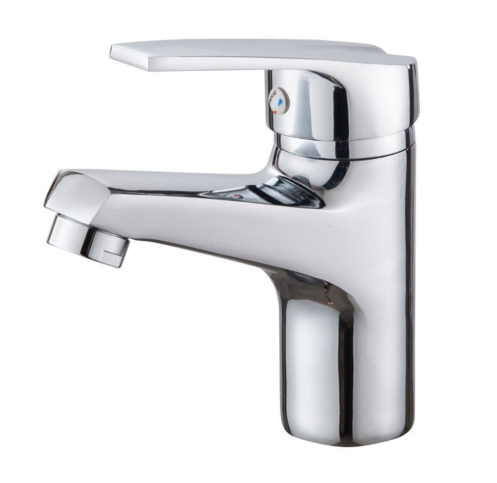 AQiMM Modern Commercial Bathroom Faucet Modern Chrome Plated Brass Silver Single Solenoid Valve Chrome Laundry Vanity Sink Faucet
