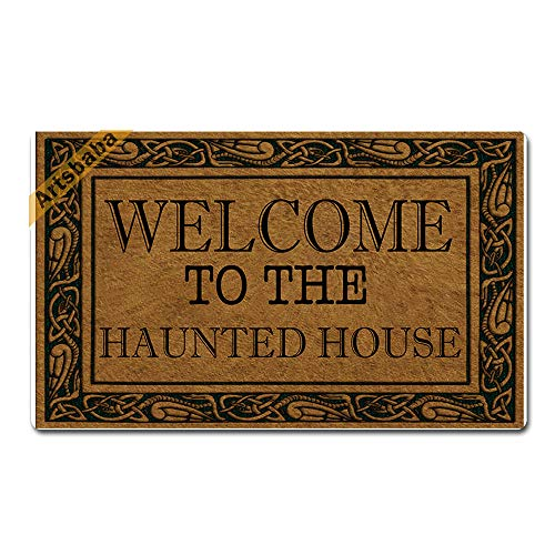 (Artsbaba Halloween Doormat Welcome to The Haunted House Door Mat Rubber Non-Slip Entrance Rug Floor Mat Balcony Mat Funny Home Decor Indoor Mat 30 x 18 Inches, 0.18 Inch Thickness)
