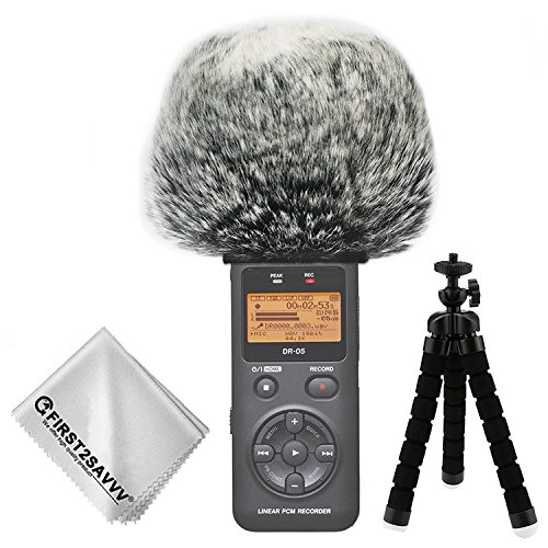 First2savvv Outdoor Portable Digital Recorders Furry Microphone Mic Windscreen Wind Muff for Tascam DR-05 - TM-DM-DR05-H01TZ3