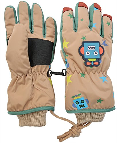 Children's Outdoor Snow Ski Gloves – Jay+Gray Insulated Kids Gloves Snow Cute Waterproof Winter Mittens with Line String – DiZiSports Store