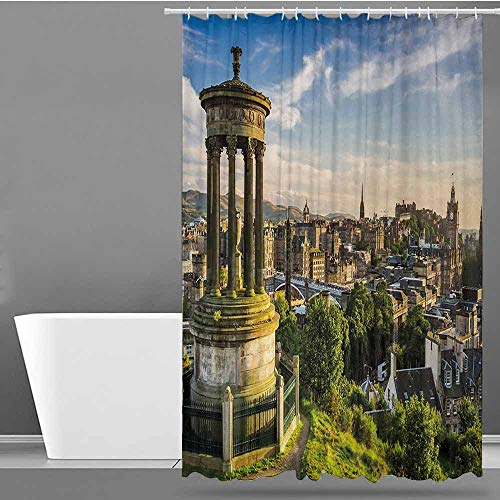 ONECUTE Shower Curtain with Hooks,Cityscape Edinburgh Town Aerial View of Historical Buildings Heritage Panorama Art,Fashionable Pattern,W60x72L Fern Green Blue -