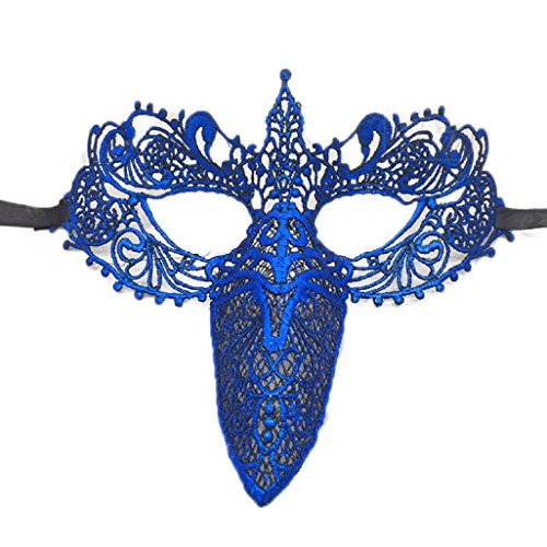 [Top Cheer 2PC Masquerade Mask Costume Bar Black Lace Soft Pretty Eye Mask for Halloween Costume (Royalblue)] (Wolf Goddess Costume)