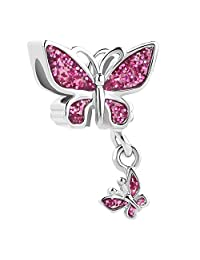 Charmed Craft Colorful Butterfly Charm Beads for Charm Bracelets