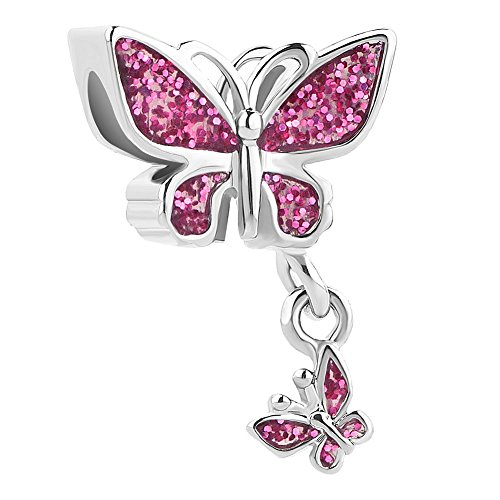 Heart of Charms Bling Butterfly Charms Dangle Charms Beads for Snake Chain Bracelets (pink)