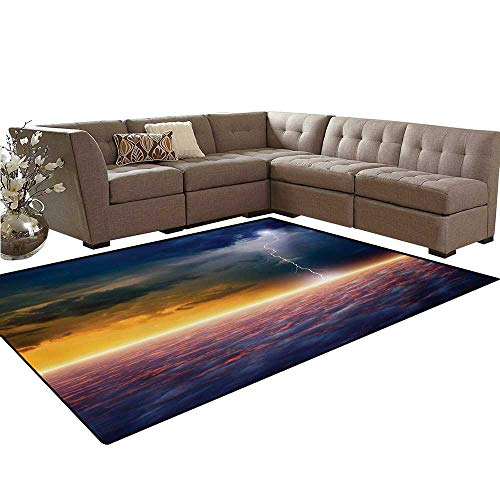 Blue Adirondack End Table (Nature Bath Mats for Floors Apocalyptic Sky View End of The World Majestic Mystic Sky Solar and Flames Image Floor Mat Pattern 5'x7' Orange Blue)