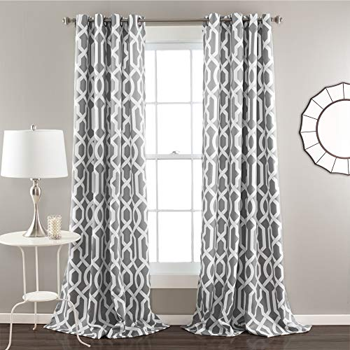 Lush Decor Edward Trellis Curtains Room Darkening Gray Window Panel Set for Living