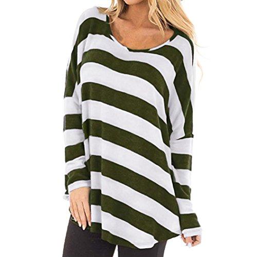 Clearance Women's Striped Print Long Batwing Sleeve Autumn T-Shirt Polyester Shirt Crop Top Tee T Shirts Blouse Duseedik ()