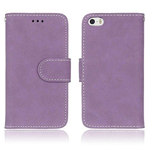 SRY-Mobile Phone Cases & Covers Caja de la carpeta de cuero de la PU superior Flip Folio funda protectora con ranura para tarjeta / soporte para el iPhone SE 5S 5 ( Color : Purple ) Purple