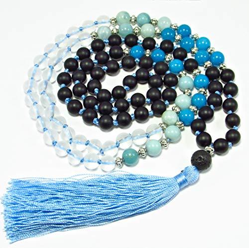 8mm Aquamarine Lava Agate Gemstone Mala necklace 108 Beads Handmade Meditation