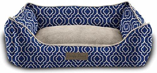 Pet Trendy Modern Chic Trellis Pet Bed, 20 x 28 x 8 - Inch, Navy Blue