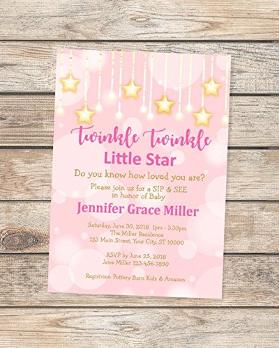 Twinkle Twinkle Little Star Baby Sip And See Invitation, Pink And Gold Baby Shower Invitation For Baby Girl, Twinkle Twinkle Sip & See Baby Invitation -