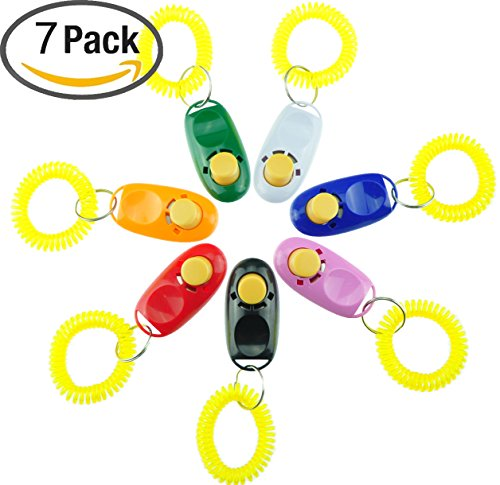 Pet Training Clicker with Wrist Strap – 7 Pack Dog Training Clicker Set by Ecocity