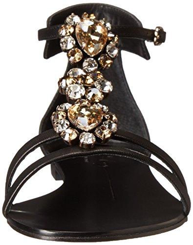Lola Cruz Femmes Jeweled Moine Sangle Plat Noir
