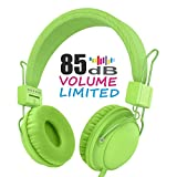 AILIHEN Wired Kids Headphones with 85dB Volume Limited and SharePort, Children Headphones with Microphone for Girls Boys Toddlers (green)