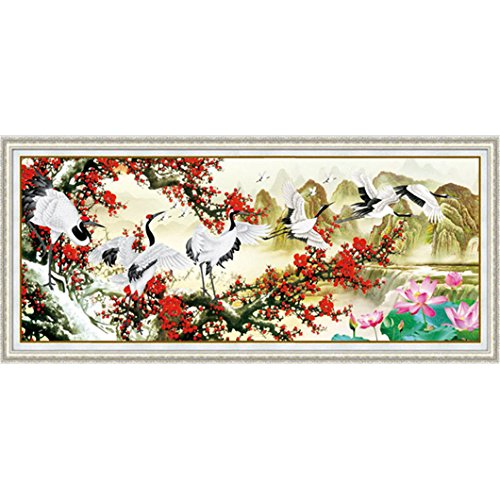Mazixun Diamond Embroidery Crane Spring 5D Diamond Painting Cross Stitch 3D Diamond Mosaic Decoration Christmas 56x139cm by Mazixun