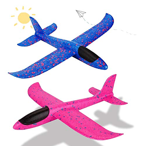 LOFEE Gift for 3 4 5 Year Old Boy-Girl, Throwing Airplane Toy for Boy 6 7 8 Year Old Birthday Present for Boy Age 5 6 7 8-2 Pack Red & Bule