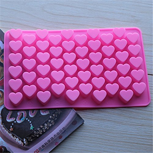 (1Pcs 3D Silicone Silicone Heart Chocolate Molds Jelly Ice Molds 55-Hearts Cake Mould Bakeware)
