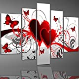 Ode-Rin - 100% Hand Painted Oil Painting on Canvas Red Heart Butterfly Wood Framed 5 Pieces Hot Love Wall Art Painting, Ready to Hang - (10