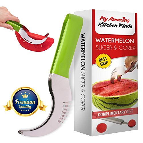 "â""–1 Choice Watermelon Slicer Corer - Best Grip - PVC handle - Highly durable - Kids friendly - No mess or dripping on your counter - Free watermelon baller bonus by My Amazing Finds"