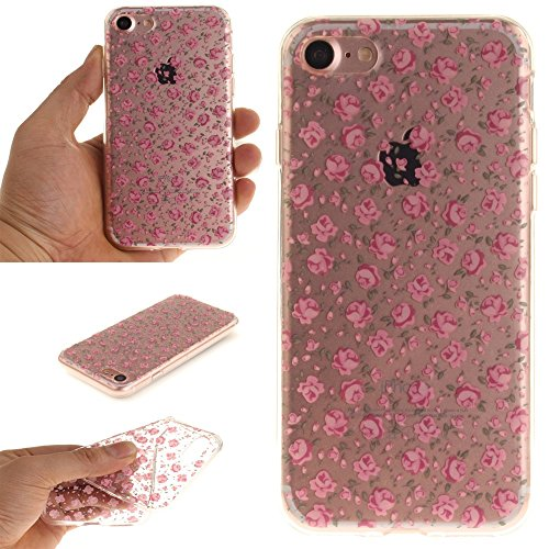 Patterned Clear IMD TPU Tasche Hüllen Schutzhülle - Cover Case für iPhone 7 4.7 - Blooming Tiny Roses