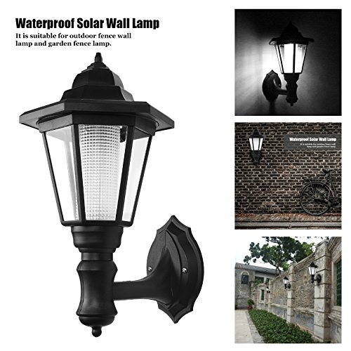 Powstro Solar Powered Wall Lantern Light Lamp Outdoor Garden Weatherproof LED Wall Lamp Hexagonal Light Lamp Exterior Sconce Lantern Lamp for Outdoor Landscape Garden Fence Yard (WHITE)