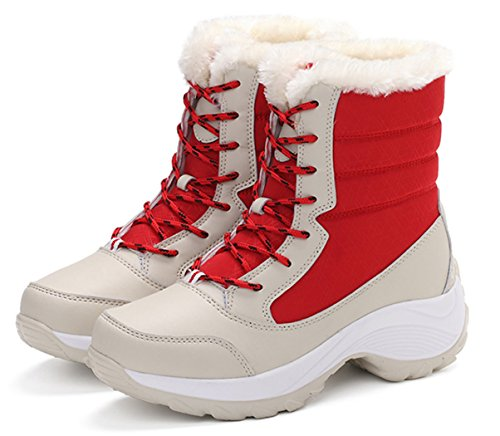 Wedge Snow Up 5 Waterproof Platform 2 Winter Lace Red Women's Boots Skid 7 Size GFONE Anti Heel WPEXnR
