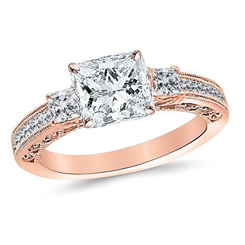 3.5 Carat 14K Yellow Gold Past Present Future 3 Stone Princess Cut Channel Set Princess Cut Diamond Engagement Ring (3 Ct J Color SI1 Clarity Center Stone)