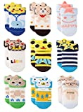 Growth Pal 9 Pack Non Skid Anti Slip Baby Socks with Grips Cotton Socks for Walking Toddlers 0-36...