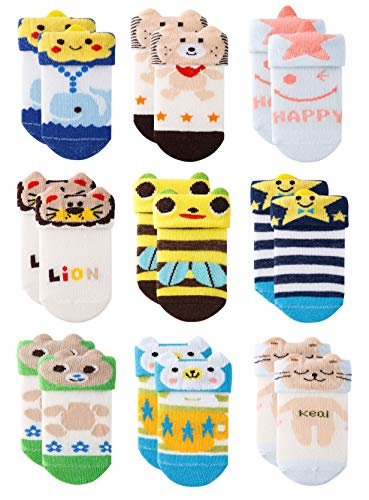 Growth Pal 9 Pack Non Skid Anti Slip Crew Baby Socks With Grips Cotton Socks for Baby Toddlers 0-3T -