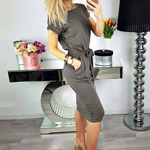 Cóctel Vestido noche mujer playa mini Vestido de 2018 de Elegante oscuro corta para y LILICAT® con Vestido de Mini bolsillo pajarita manga de suelto vestido verano Gris casual RB0w6wq