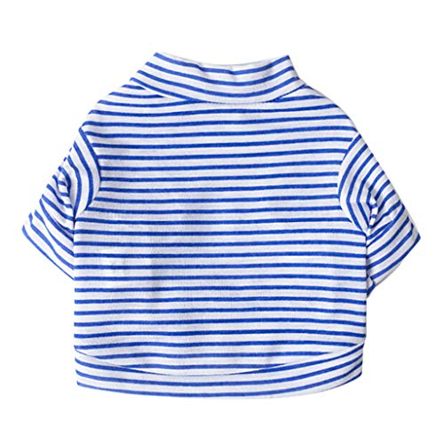 Longay Pet Dog Puppy Vest T-shirt Dog Clothes Striped Vest Apparel Spring (Blue, XS)