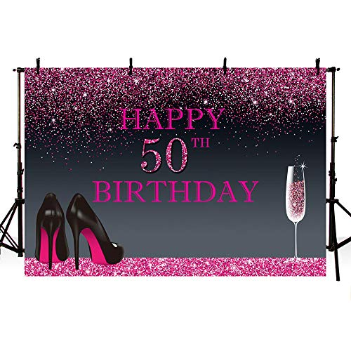 MEHOFOTO Photo Background Shining Pink Black High Heels