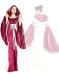 Lady Renaissance Hooded Costume Medieval Gown Maid Marion Fancy Dress Tudor Queen Princess Costume