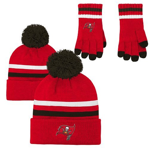 NFL Boys (4-7) 2 Piece Knit Hat and Gloves Set-Red, Tampa Bay Buccaneers-One Size ()