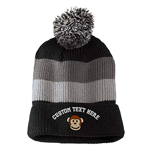 Custom Text Embroidered Cute Monkey Face Unisex Adult Acrylic Vintage Striped Removable Pom Pom Beanie Skully Hat - Black/Grey Stripes, One Size