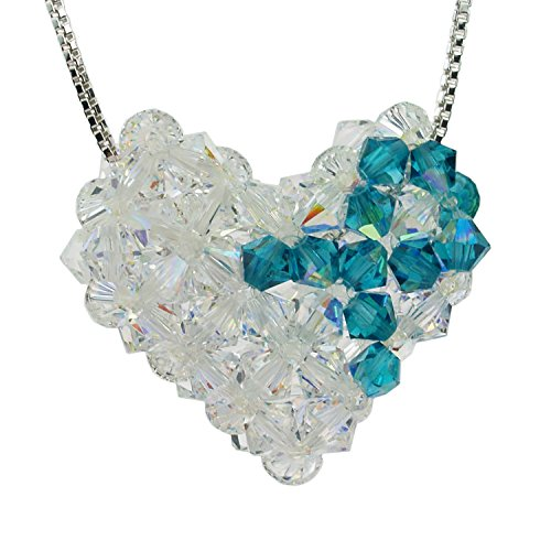 Sterling Silver and Swarovski Crystal Ovarian Cancer Awareness Woven Puffy Heart Necklace Swarovski Crystal Puffy Heart Pendant