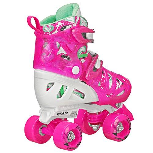 Roller Derby Trac Star Girl's Adjustable Roller Skate, White/Pink, Medium (12-2)