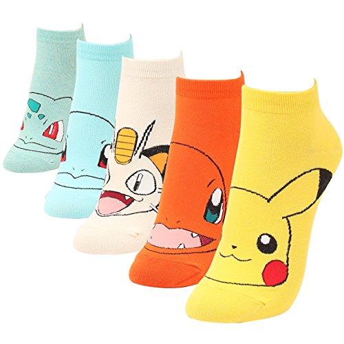 WOWFOOT Cute Pokemon Cartoon Character Print Cotton Crew Floor Socks For Women Girl Boy (5 pair - Pokemon (Cute Girl Cartoon Characters)