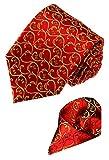 LORENZO CANA Luxury Italian 100% Silk Woven Tie Hanky Set Red Gold Floral 8433201