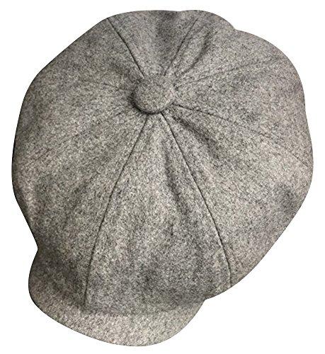 (MINAKOLIFE Mens Premium 8 Panel Wool Blend Newsboy Ivy Hat (L(58-60cm), Grey))