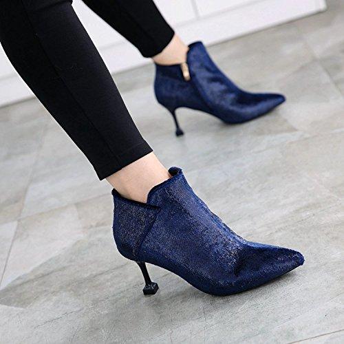 Puntas Treinta Azul Botas Con Sus Y as Algodon Botas Botines Peque GTVERNH Damas Nuevas Ocho Zapatos Y Y Bien Son Botas Con Temperamento gBnHwq8