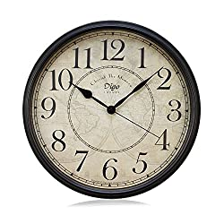 Justup® Wall Clock, 12 inch Metal Silent Non-Ticking Retro Clock Black Vintage European Style Battery Operated with HD Glass Easy to Read for Indoor decor