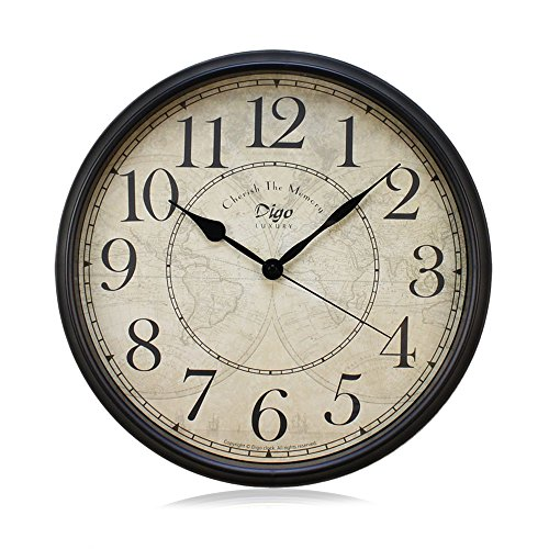 Wall Clock, JUSTUP 12 inch Black Wall Clock European Style Retro Vintage Clock Non - Ticking Whisper Quiet Battery Operated with HD Glass Easy to Read for Indoor decor (Arabic - Vintage Retro