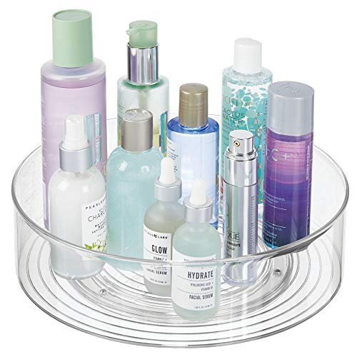 (mDesign Plastic Spinning Lazy Susan Turntable Storage Tray - Rotating Organizer for Bathroom Vanity Counter Tops, Dressing Tables, Makeup Stations, Dressers - 11.5