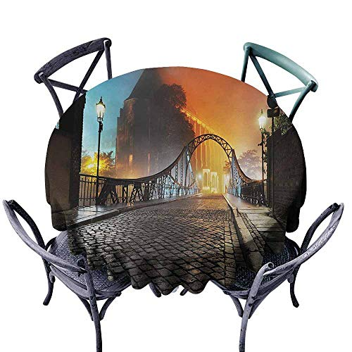 (VIVIDX Custom Tablecloth,Landscape,Modern City Bridge at Night with Mystical Sightseeing Urban Theme Landscape,Party Decorations Table Cover Cloth,47 INCH,Grey)