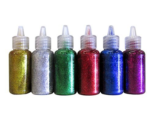 Bazic Products 6 Color Glitter Glue Set 20ml Bottles - Classic Colors - Green, Gold, Red, Silver, Blue, & Purple
