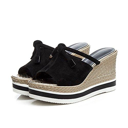 AJUNR Moda/elegante/Transpirable/Sandalias Zapatos de mujer Zapatillas pescado bocas pajaritas negro 10 cm de laderas Treinta y cuatro 37