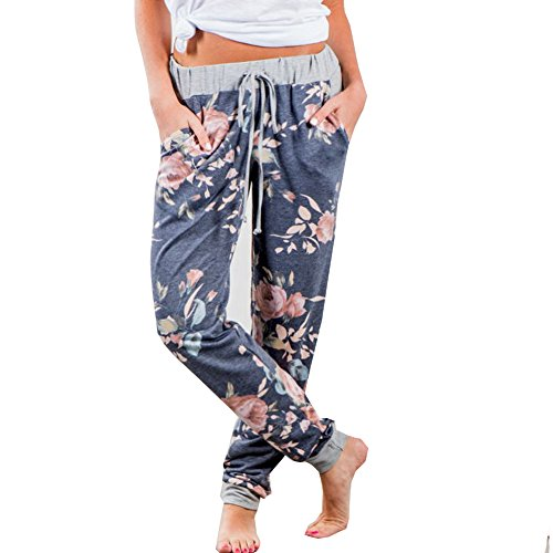 Finelook Womens Fashion Floral Casual Loose Sports Harem Pant Jogger Dance Hiphop Slacks Trousers (M, Blue)